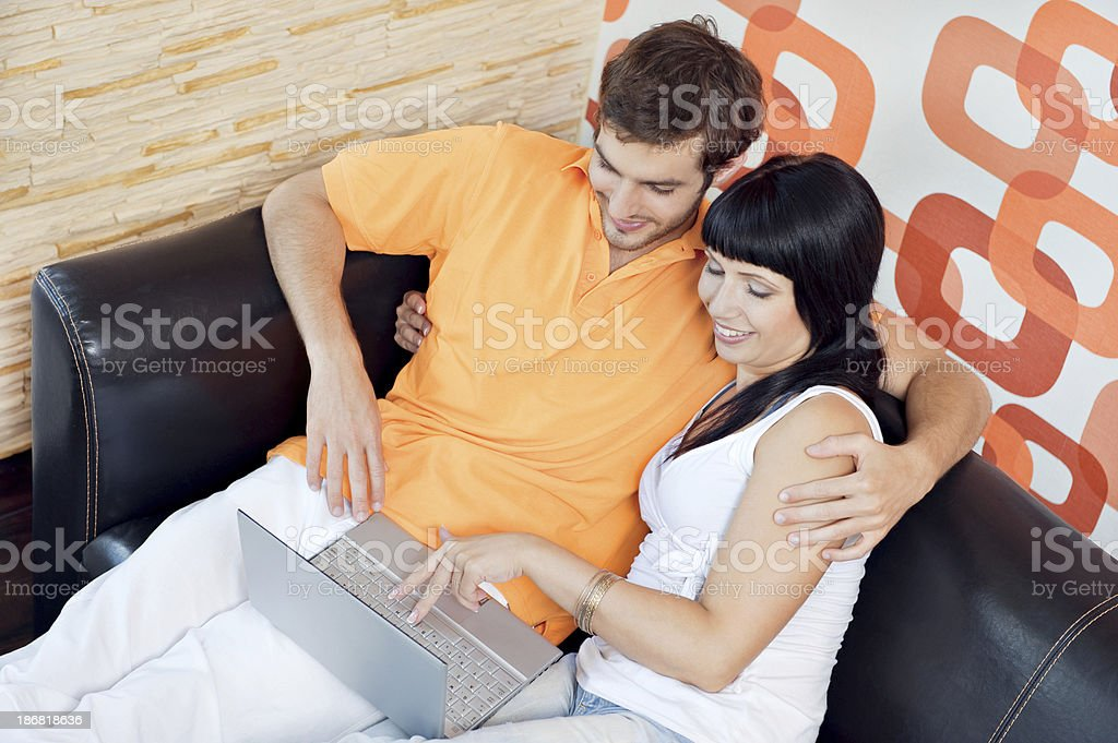 Young couple in the living room royalty-free stock photo