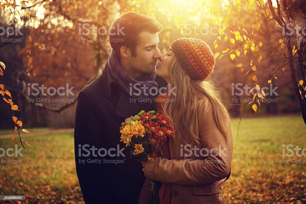 young couple in the nature stock photo
