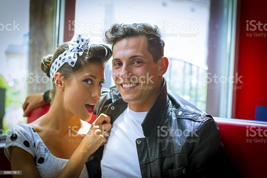 Young couple in vintage bar - 1950's style stock photo