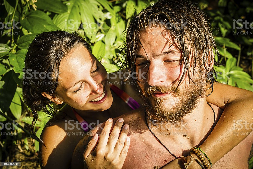 young couple in Water royalty-free stock photo