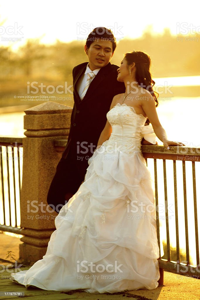 young couple in wedding royalty-free stock photo