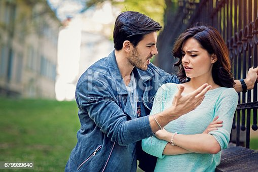 istock Young couple is arguing on the street 679939640