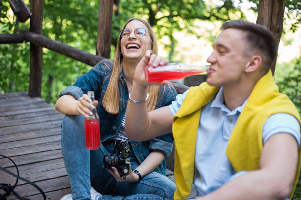 Young couple is enjoying their time in nature stock photo