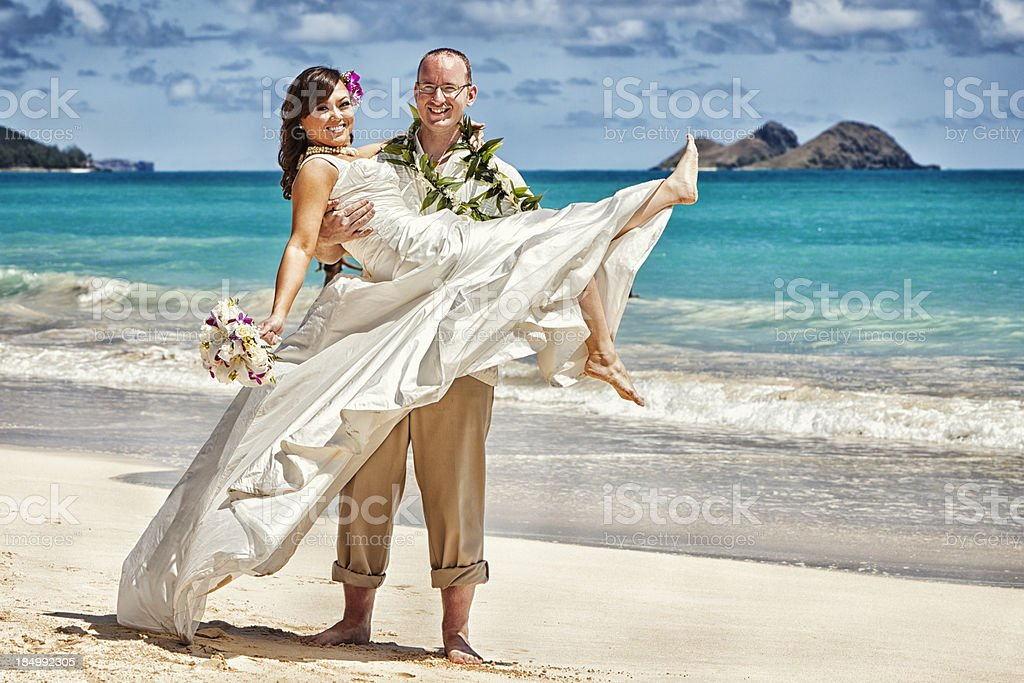 Young Couple Just Married in Hawaii royalty-free stock photo