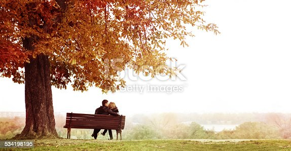 Rear Vew of Young Couple Sitting and Kissing on a Bench in the Beautiful Autumn Day . The man is embracing  her wife shoulder. Horizontal shot.