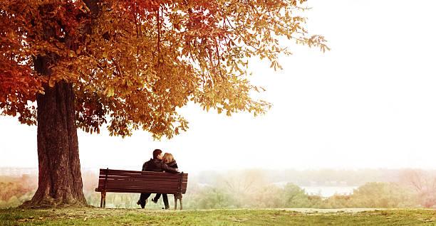 Junges Paar Küssen auf einer Bank und unter dem riesigen Kastanie. – Foto