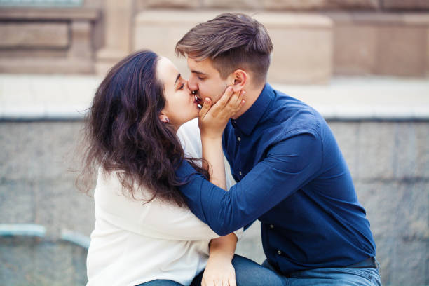 Young couple kissing on Valentine's day stock photo