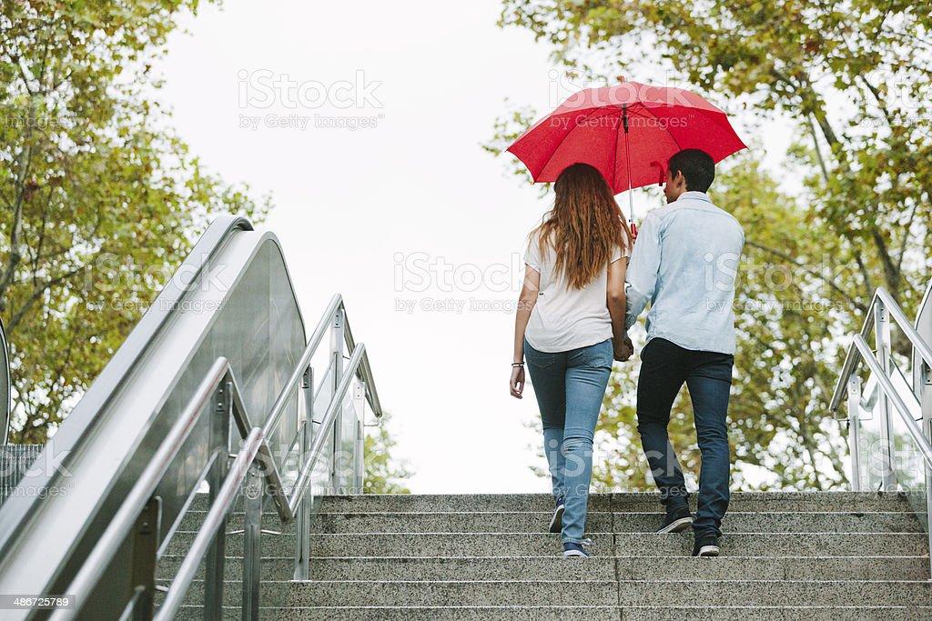 Young couple, Las Ramblas stock photo