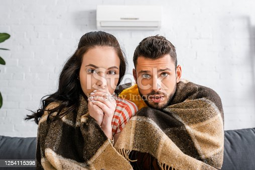 Young couple looking at camera while wrapping in plaid at home