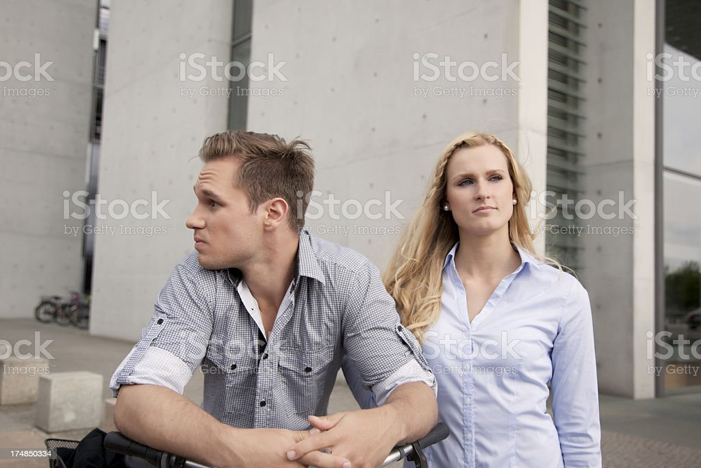 Young couple looking in different directions royalty-free stock photo
