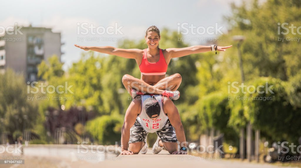 Morning workout of couple