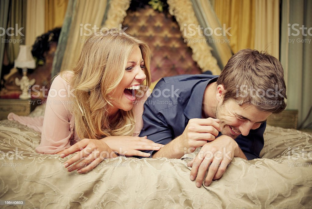 Young Couple, Luxurious Bedroom stock photo