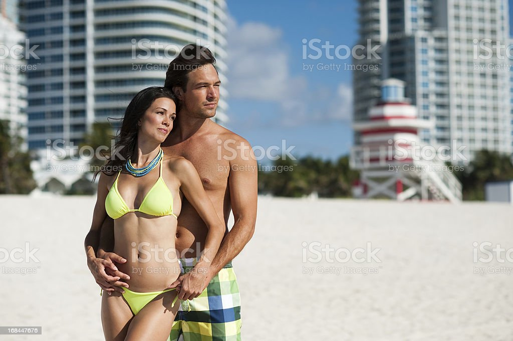 Young Couple Man and Woman at Beach royalty-free stock photo