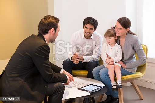 istock Young Couple meeting real-estate agent to buy property 482635145