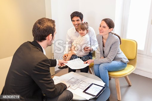istock Young Couple meeting real-estate agent to buy property 482635219