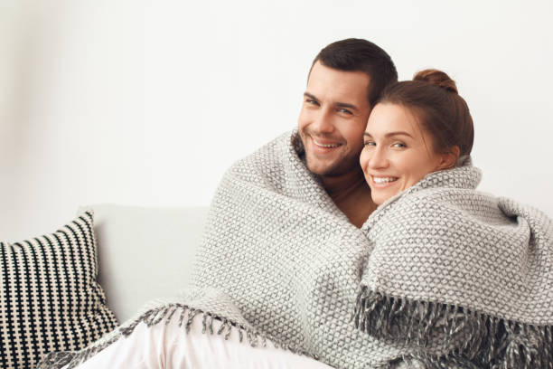 Young couple morning together family love concept stock photo