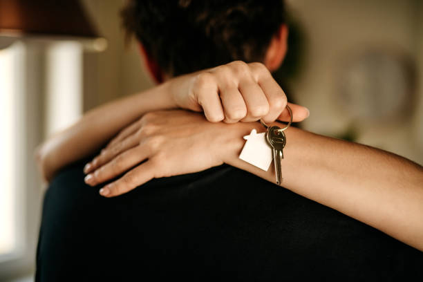 Young couple moved into their new home stock photo