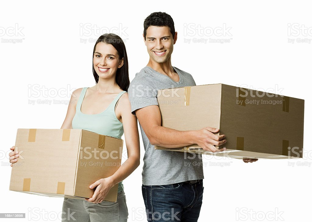 Young Couple Moving - Isolated royalty-free stock photo