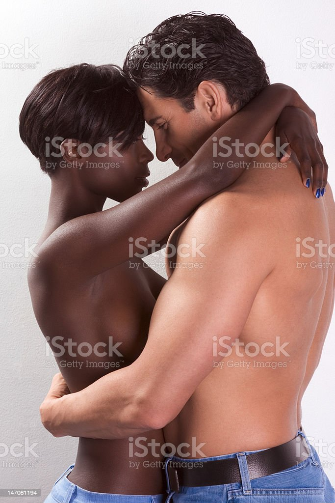 Young couple naked Man and woman in love kissing royalty-free stock photo