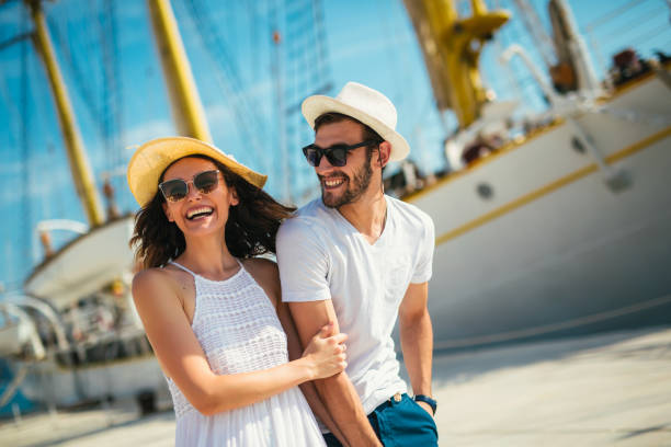Young couple on a summer vacation stock photo
