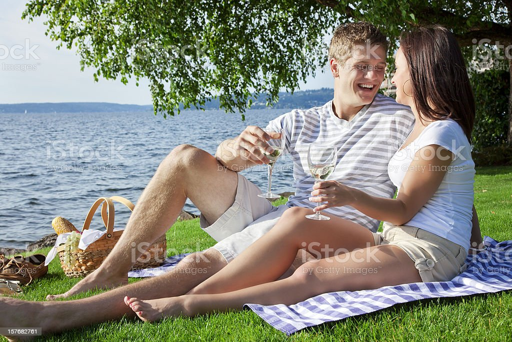 Young Couple on Romantic Picnic royalty-free stock photo
