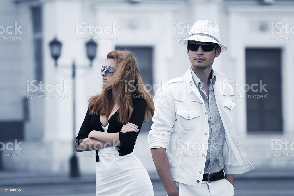Young couple on the city street royalty-free stock photo