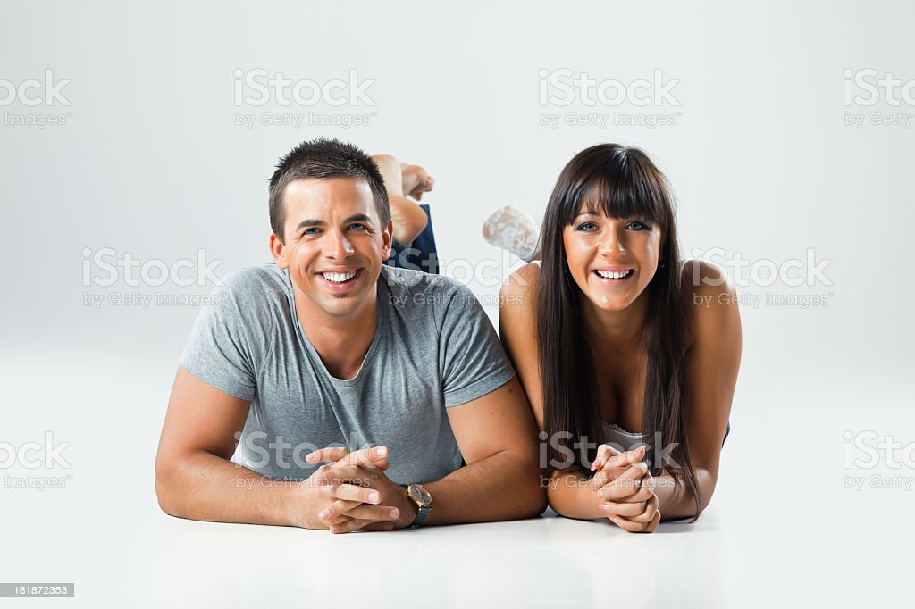 Young couple on the floor royalty-free stock photo