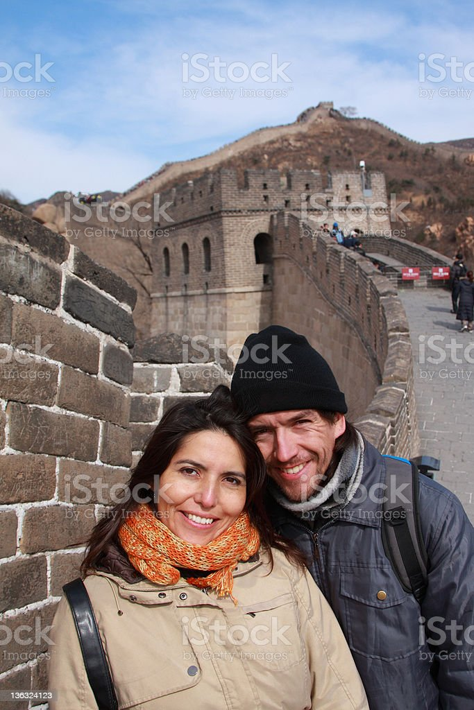 young couple on the great wall royalty-free stock photo