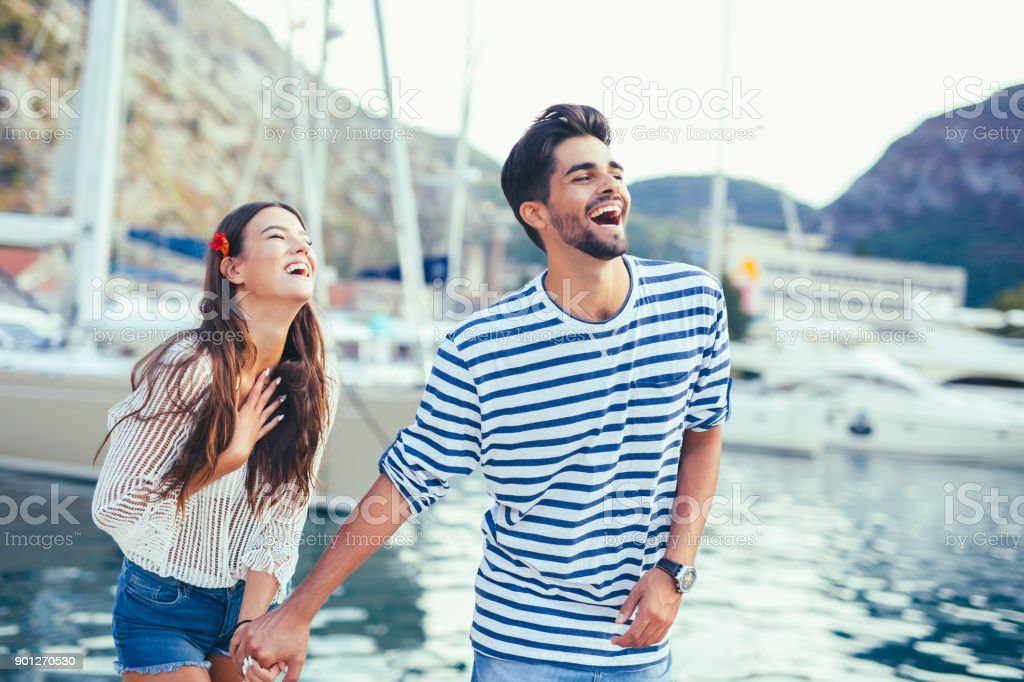 Young couple on vacation stock photo