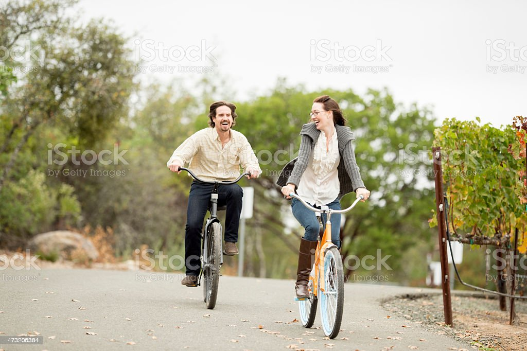 Young Couple out for a Bike Ride stock photo