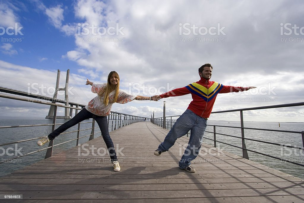 Young couple outdoor enjoying life royalty-free stock photo