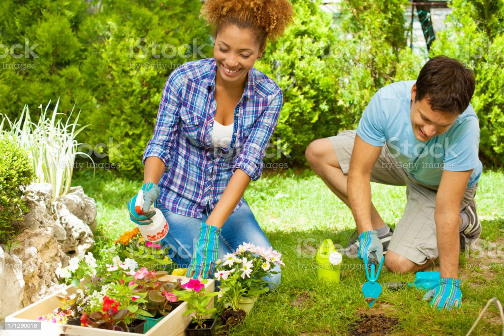 Young Couple Planting a Flower. stock photo