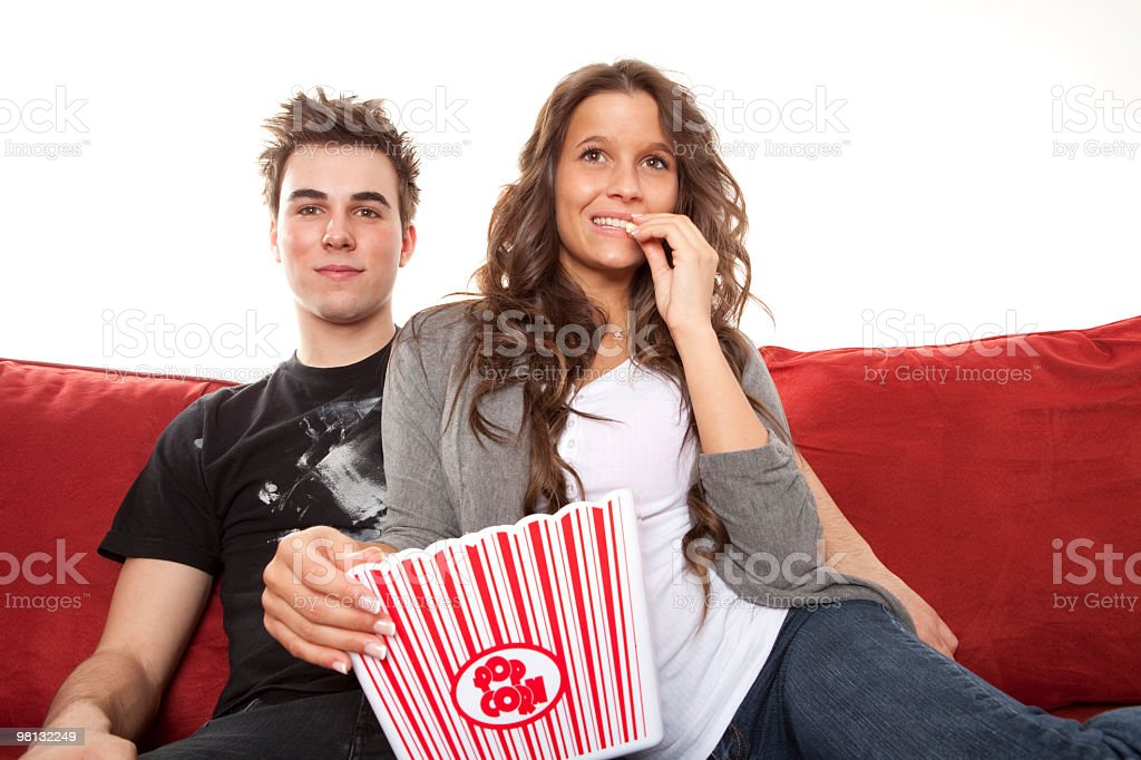 Young couple Pop Corn royalty-free stock photo