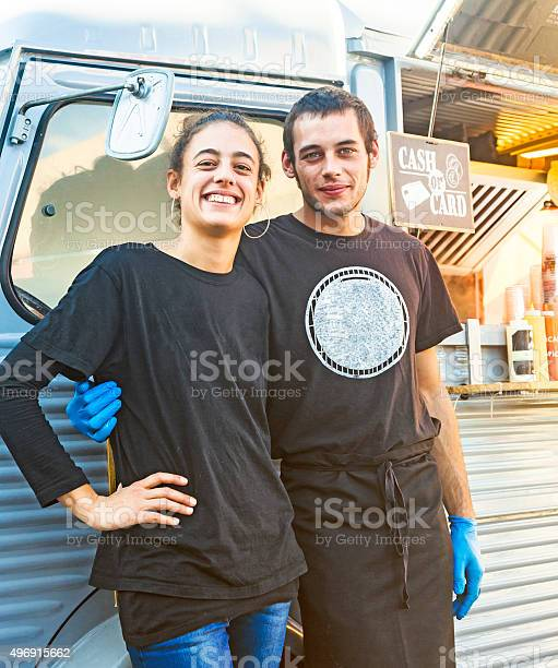 Young couple posing by their food truck picture id496915662?b=1&k=6&m=496915662&s=612x612&h=os fm2u80ovdtszg9sp6a98in5do6v17jj3lwsq4dwi=