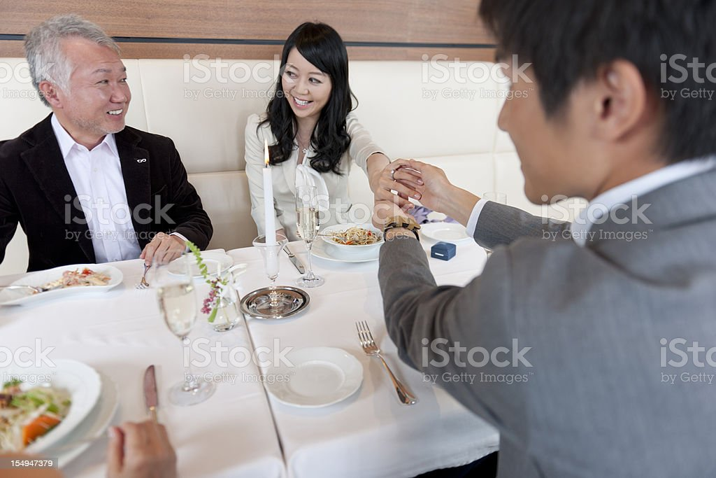 Young couple present engagement ring royalty-free stock photo
