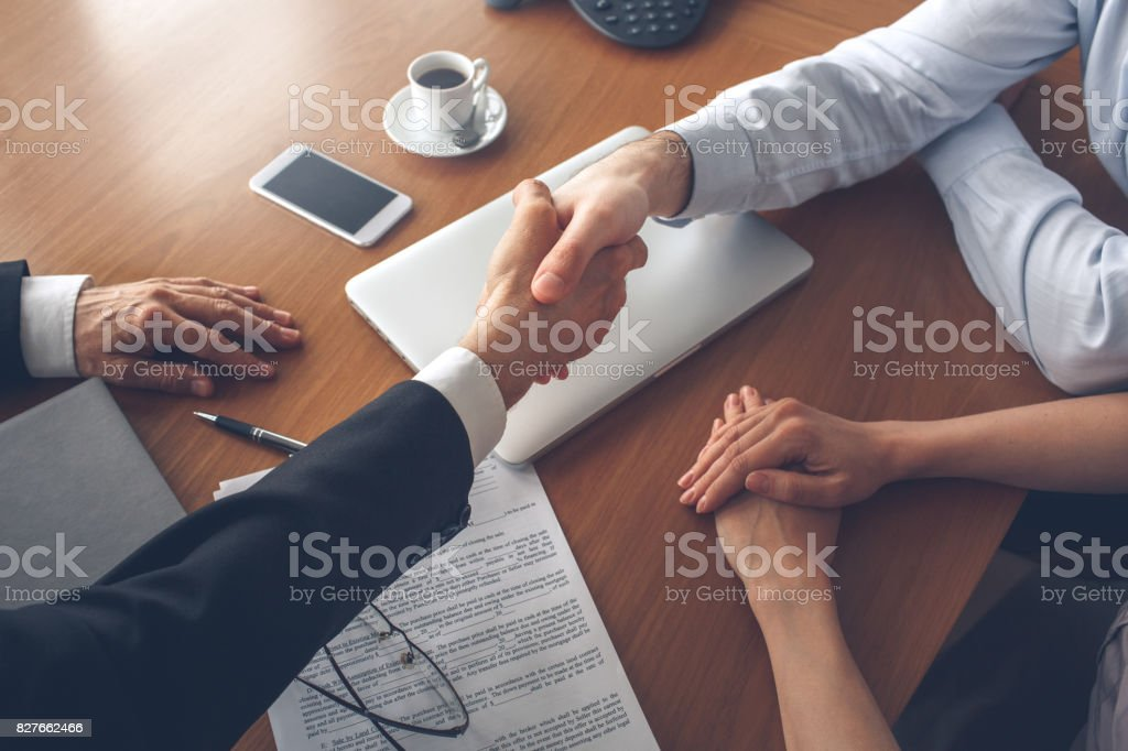 Young couple purchase rent property real estate stock photo