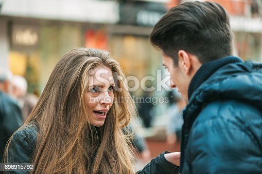 istock Young couple quarreling because of disagreements 696915792