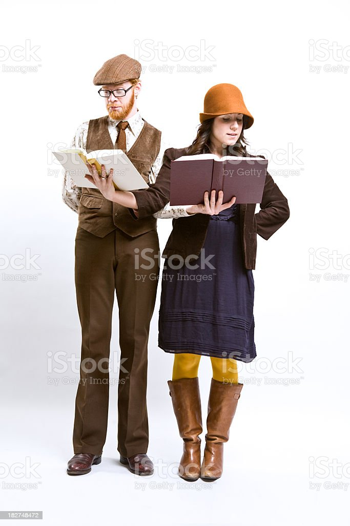 Young Couple Reading Books stock photo