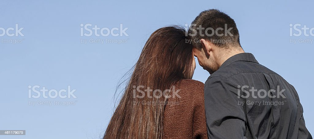 young couple rear view stock photo
