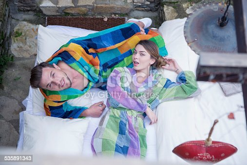 536952169 istock photo Young couple relax in garden 535891343