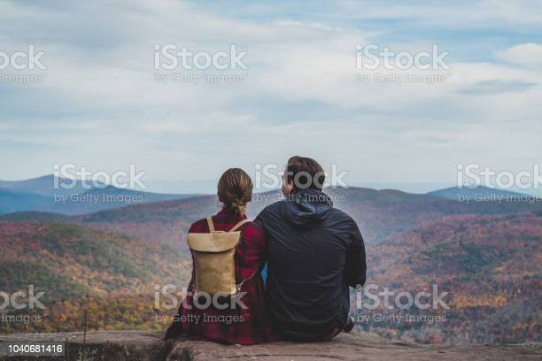 A Young Couple Relaxing In Nature In Autumn Stock Photo - Download Image Now