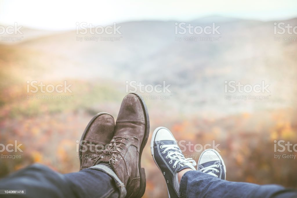 A Young Couple Relaxing in nature in Autumn stock photo