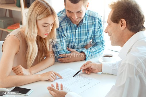 istock Young couple rent apartment together real estate 841503672