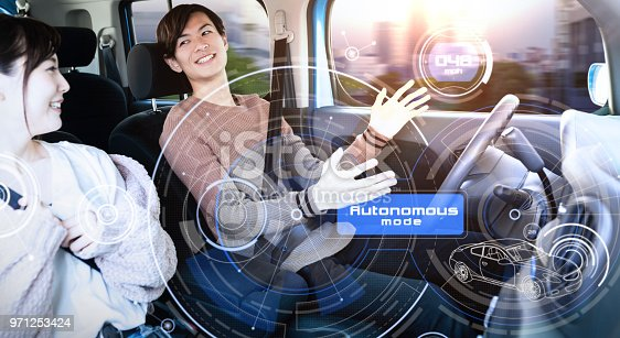 istock Young couple riding autonomous car. 971253424