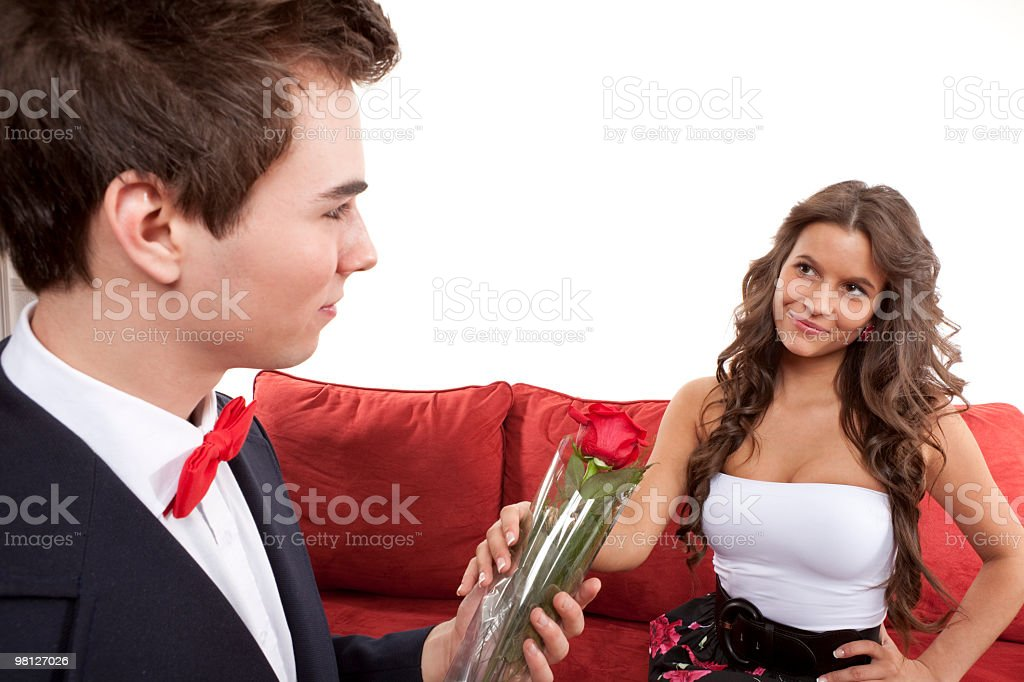 Young Couple Rose royalty-free stock photo