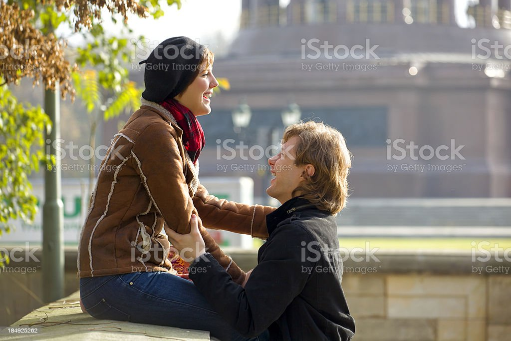 Young couple sharing a moment together in Berlin royalty-free stock photo