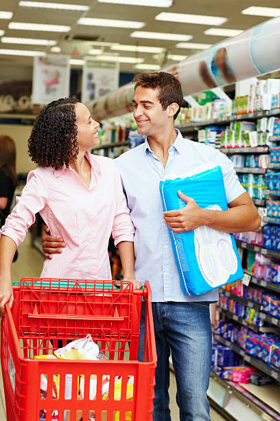 Young couple shopping at super market stock photo