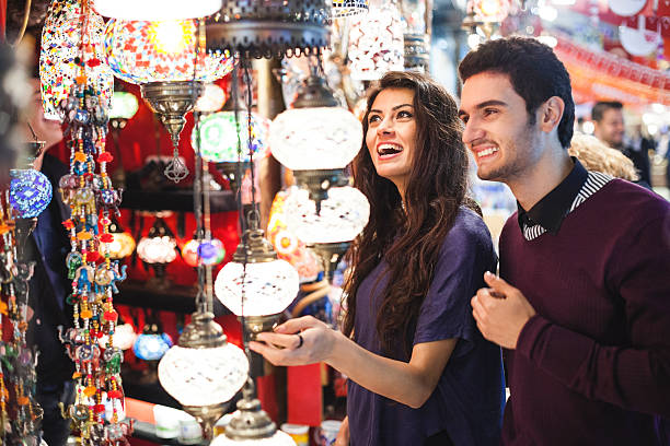 Young Couple Shopping in Bazaar stock photo
