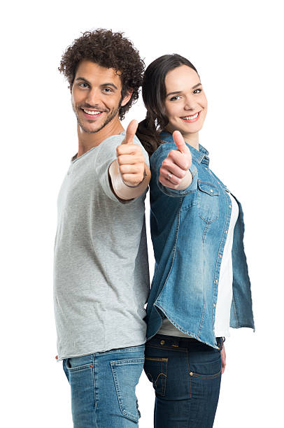 Young Couple Showing Thumb Up stock photo