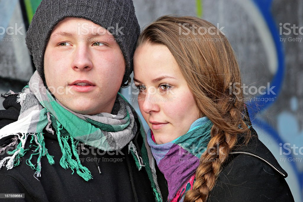 Young couple standing close together royalty-free stock photo